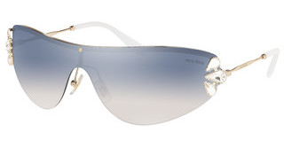 Miu Miu MU 66US ZVN5R0 GRAD LIGHT BLUE MIRROR SILVERPALE GOLD