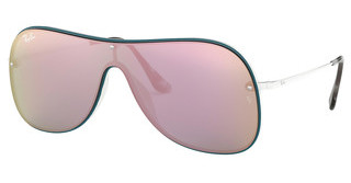 Ray-Ban RB4311N 63624Z GREY MIRROR YELLOW ROSEWHITE ON TOP PETROLIUM